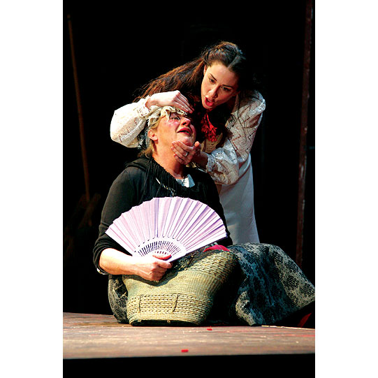 Juliet (Morven Christie) is impatient with her Nurse (Sorcha Cusack) who delays telling her Romeo's plans.