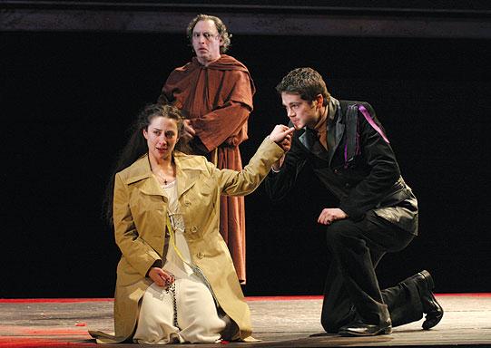 Juliet (Morven Christie) appears just as Paris (Simon Bubb) is visiting Friar Laurence (David Fielder).