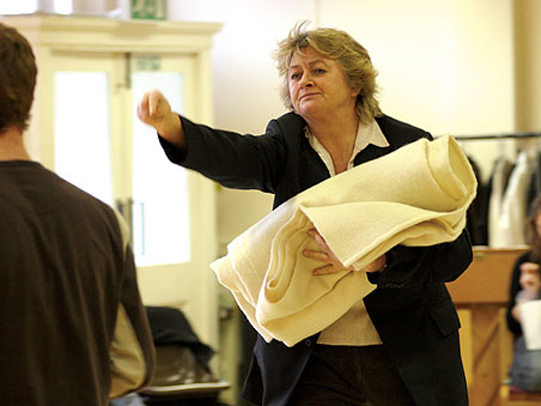 Sorcha Cusack rehearses activities on the morning of Juliet's wedding.