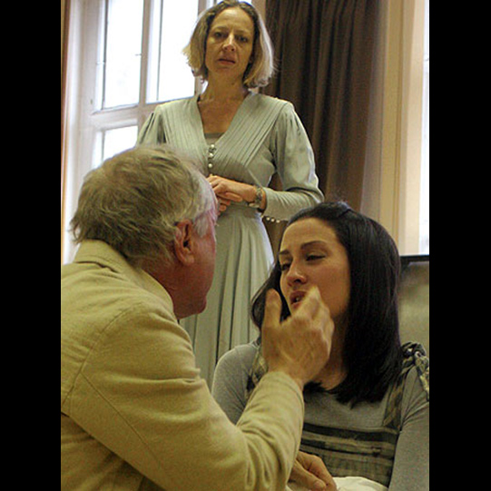 Lord Capulet (Nicholas Day) telling Juliet (Morven Christie) she must marry Paris.