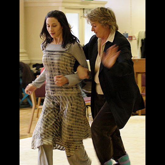 Morven Christie (Juliet) and Sorcha Cusack (Nurse) in rehearsal.