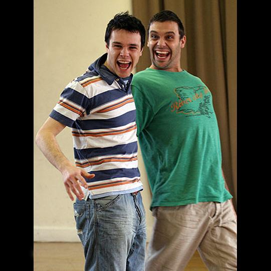Rupert Evans and Joseph Millson take part in an improvisation workshop.
