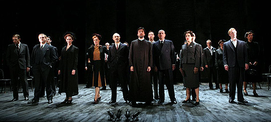 The company on stage at the start of the play.