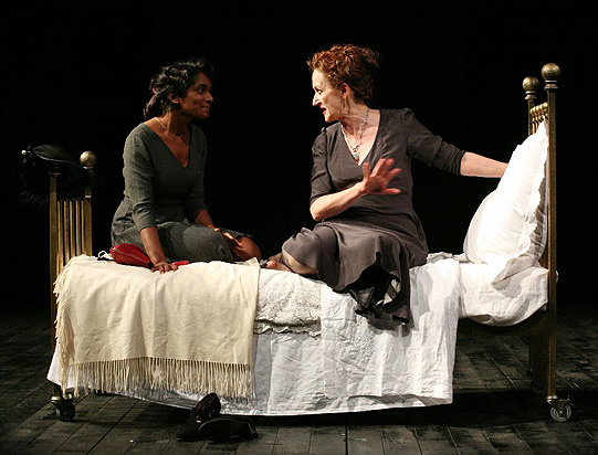 After winding up Juliet (Anneika Rose) by making her wait, the Nurse (Julie Legrand) finally tells her about Romeo's plans.