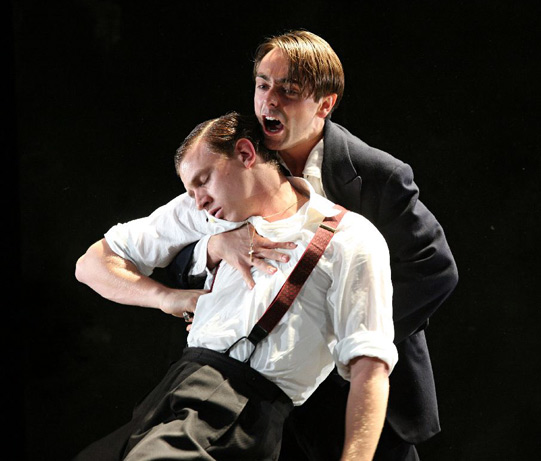 Romeo (David Dawson) avenges Mercutio's death by killing Tybalt (Mark Holgate) who is Juliet's cousin.