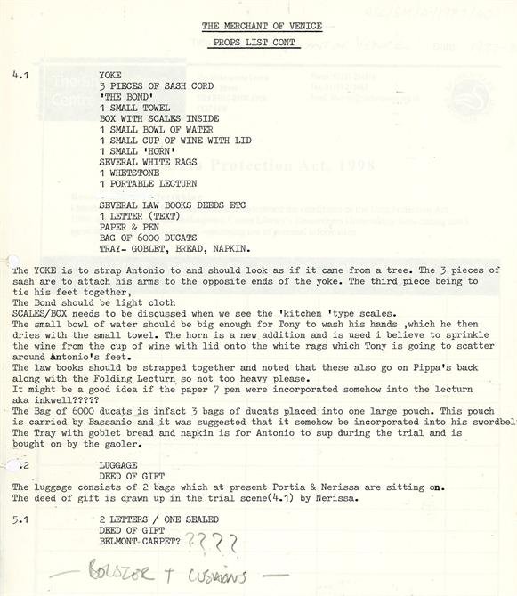 Prop list for the trial scene in The Merchant of Venice from 1987, including a portable lectern and bag of ducats