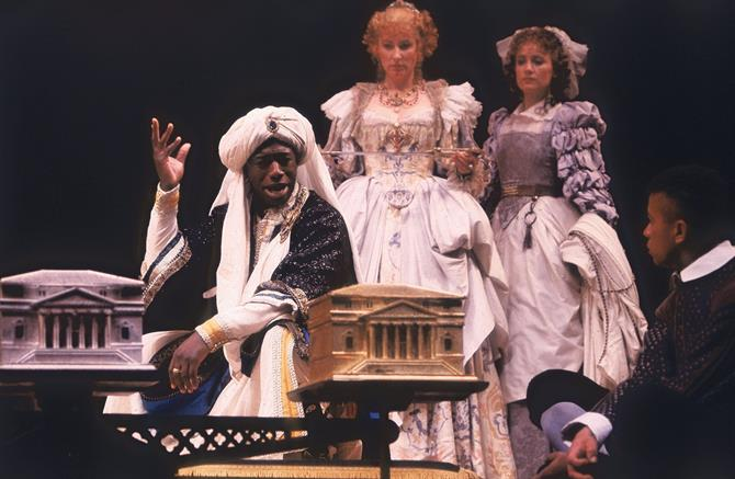 The Prince of Morocco chooses his casket in Act 2 Scene 7 of The Merchant of Venice 1987