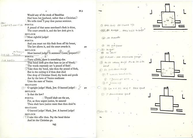 Pages from the prompt-book, showing Act 4 Scene 1, the trial scene of The Merchant of Venice in 1987