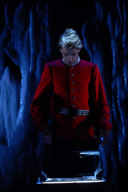 Bassanio (Jack Laskey) looking at all the caskets before making his choice lead.