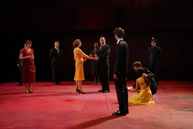 Portia (Georgina Rich) reveals the truth about the rings to Gratiano (John Paul Connolly) and Bassanio (Jack Laskey).