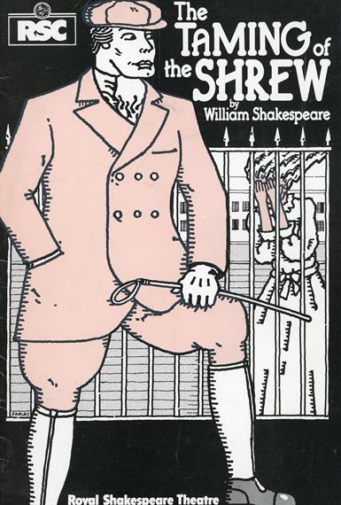 Programme cover for The Taming of the Shrew 1978 featuring a drawn image of an Edwardian gentleman holding a short whip and a woman behind bars