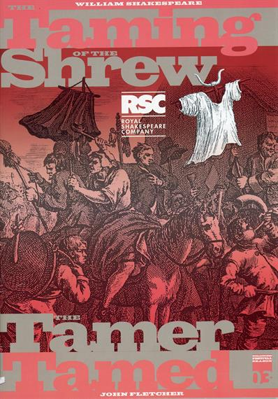 Programme cover for The Taming of the Shrew 2003 at the Royal Shakespeare Theatre featuring a grotesque etched cartoon of an unruly crowd