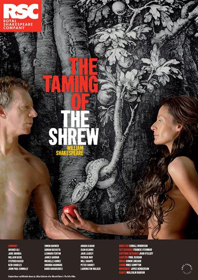 Theatical poster for The Taming of the Shrew 2008 featuring an Adam and Eve-style pose with a serpent wrapped around a tree