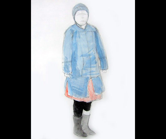 A sketch of a woman in a blue coat and woolly hat.