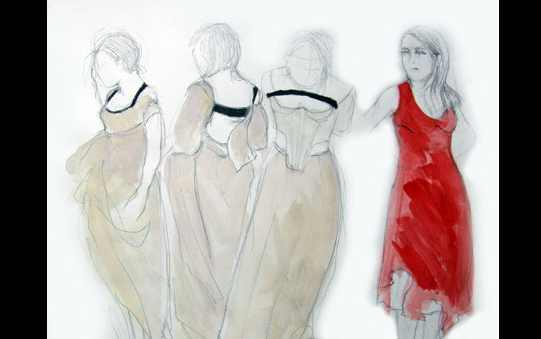 A sketch of three women in simple white dresses, next to a drawing of a woman in vibrant red.