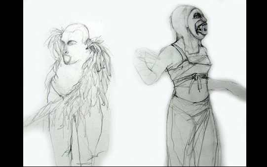 Two sketches: one of a man with a feathery collar and the other of a woman with sharp, monstrous teeth.
