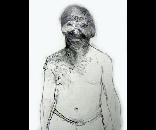 A sketch of a shirtless man with a blurred face and puzzle pieces across part of his body.