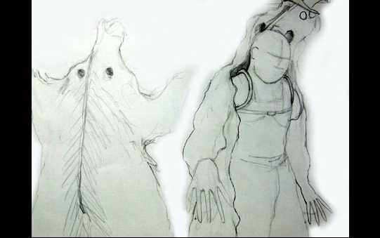 The sketches for Prospero's cloak, which has the look of a bear hide.