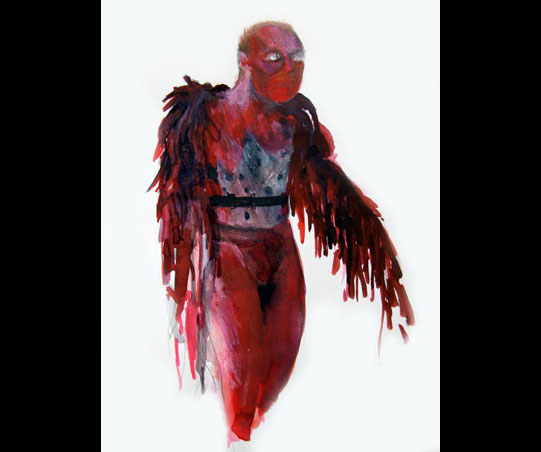 A painting of a red creature with red and black feathers.