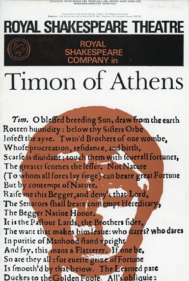 Cover of programme for Timon of Athens, 1965, showing the text of the play superimposed on a sketch of a male head