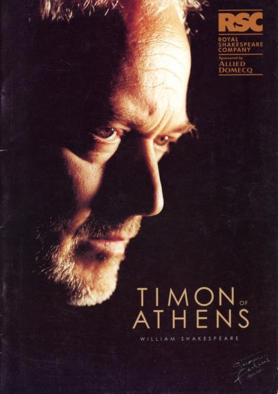 Theatrical programme cover for Timon of Athens 1999 featuring Michael Pennington head shot in profile looking right