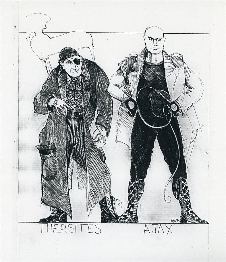 Costume design sketch showing Thersites dressed in mac, helmet and black-patch and Ajax as skinhead with whip and fancy leather boots