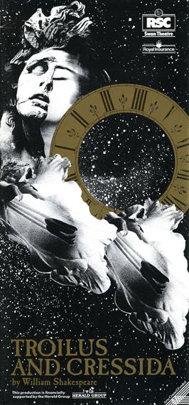 Theatical poster for Troilus and Cressida 1990 showing a starry sky, a Roman numeral dial and a blurred female face