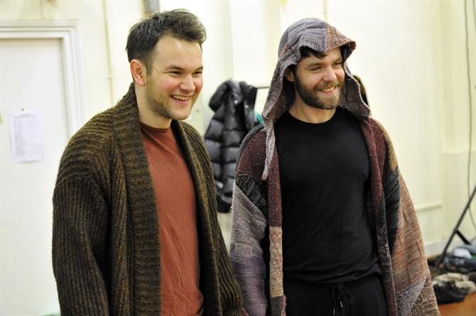 Daniel Easton and Luke Norris in rehearsal for As You Like It.