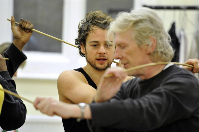 Alex Waldmann and Cliff Burnett in rehearsal for As You Like It.