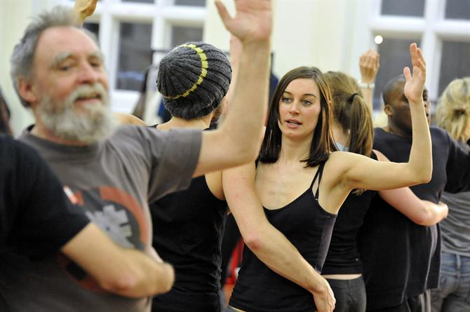 Pippa Nixon and the cast of As You Like It in rehearsal.