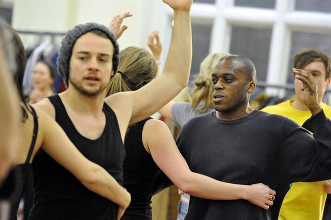 Alex Waldmann, Dave Fishley and the cast of As You Like It in rehearsal.