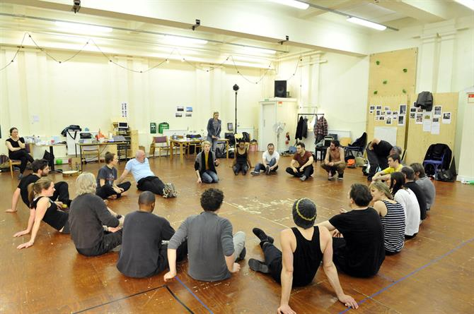 The cast of As You Like It in rehearsal.