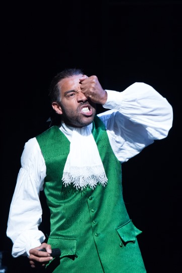 Kevin Harvey as Voltaire in Candide.