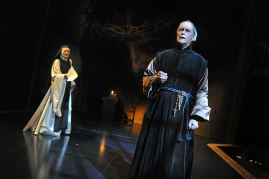 Catherine McCormack as Sister Juana and Geoffrey Beevers as Father Antonio in The Heresy of Love.