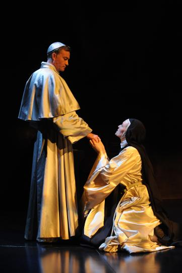 Raymond Coulthard as Bishop Santa Cruz and Catherine McCormack as Sister Juana in The Heresy of Love.
