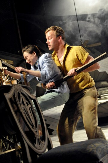 Emily Taaffe as Viola and Felix Hayes as Fabian in Twelfth Night.