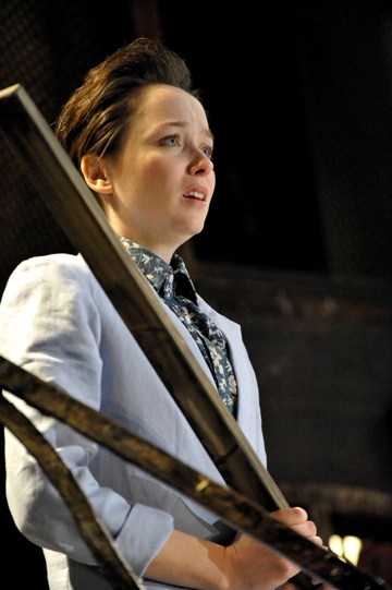 Emily Taaffe as Viola in Twelfth Night looking anxious