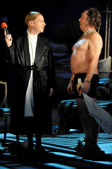 Jonathan Slinger as Malvolio and Nicholas Day as Sir Toby Belch in Twelfth Night