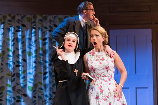 Sarah Ridgeway as Truly Kidman, Steffan Rhodri as Mr Littledick and Ellie Beaven as Mrs Littledick in A Mad World My Masters. Photo by Manuel Harlan