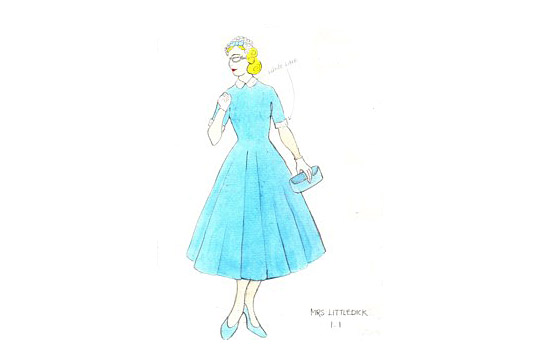 Costume design for Mrs Littledick in A Mad World My Masters by Alice Power