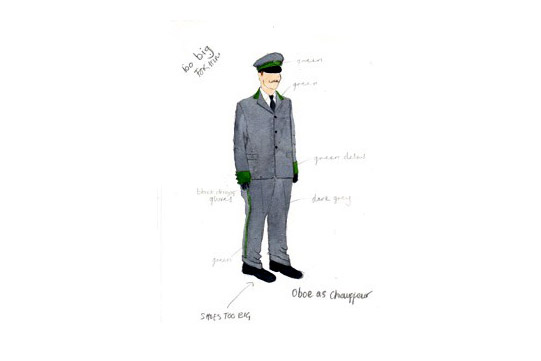 Costume design for Oboe in A Mad World My Masters by Alice Power