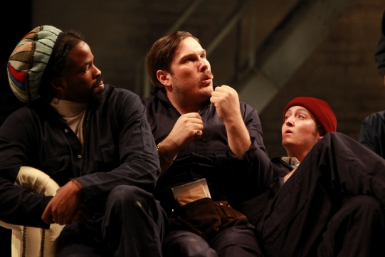 Production image, featuring left to right: Chike Okonkwo (Snout), Marc Wootton (Bottom) and Michael Grady-Hall (Flute)