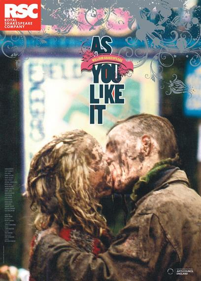 Theatrical poster for As You Like It 2013 showing a muddy couple kissing at a pop concert