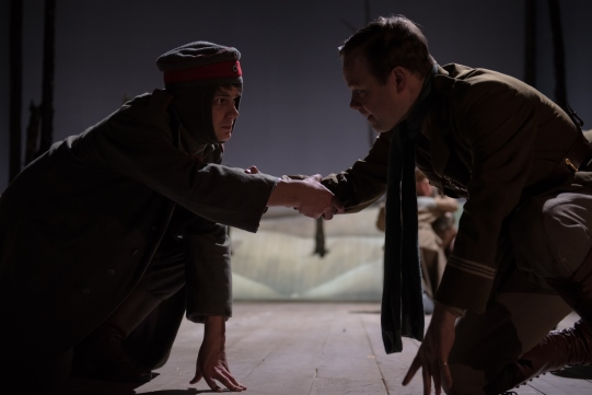 Oliver Lynes as Schmidt and Sam Alexander as Captain Riley in The Christmas Truce.
