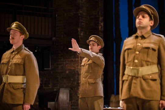 Peter McGovern as Harris, Oliver Lynes as Liggins and Chris Nayak as Tallis in The Christmas Truce.