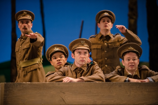 William Belchambers as Alf, Tunji Kasim as Brisker, Harry Waller as Smith, Oliver Lynes as Liggins, and Sam Alexander as Captain Riley in The Christmas Truce.