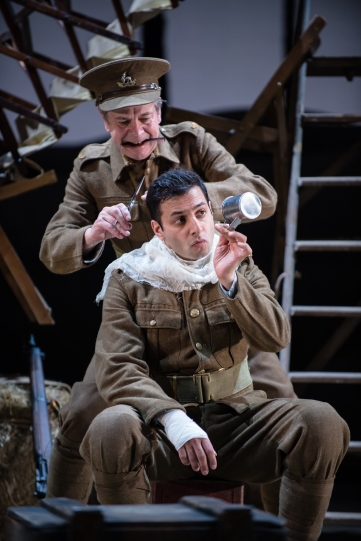 Roderick Smith as Bert and Chris Nayak as Tallis in The Christmas Truce.