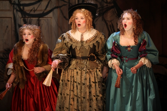 Matti Houghton, Sara Crowe and Lucy Briggs-Owen in The City Madam.