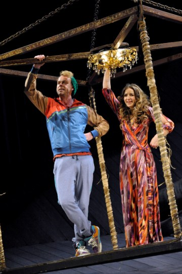 Bruce Mackinnon as Dromio of Syracuse and Kirsty Bushell as Adriana in The Comedy of Errors.