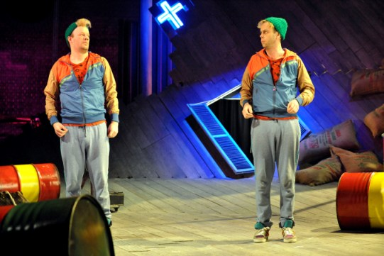 Felix Hayes as Dromio of Ephesus and Bruce Mackinnon as Dromio of Syracuse in The Comedy of Errors., dressed identically